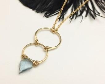 Gold Filled & Moss Aquamarine Crescent Cascade Necklace (N409GF-S-Aqua)