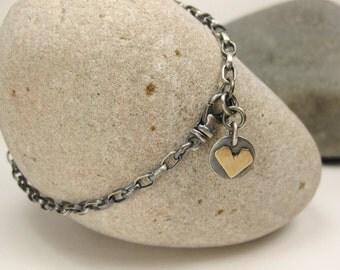Silver & Gold Heart Chain Bracelet