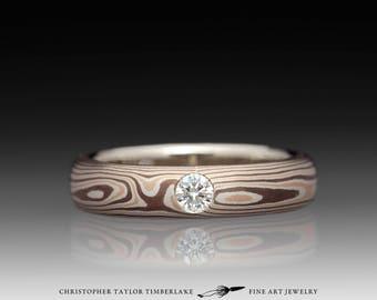 Mokumé Gane 14K Rose Gold, Palladium Sterling Silver, and Shakudo Ring with Diamond