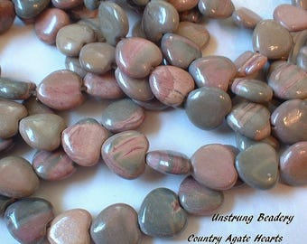 Country Agate Beads, 12mm, Heart  8 Pcs