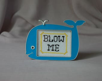 Blow me Cross Stitch Adorable Whale Frame Humor Subversive Funny