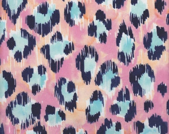 Blend Fabrics Tropical Paradise Painted Leopard in Pink - Half Yard