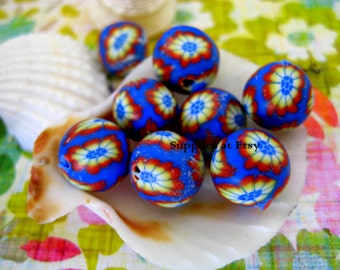 Sale Organic navy Blue green red floral Polymer Clay Beads Round  beads 10mm-Fancy handmade Floral beads- Floral  Pink purple red colors