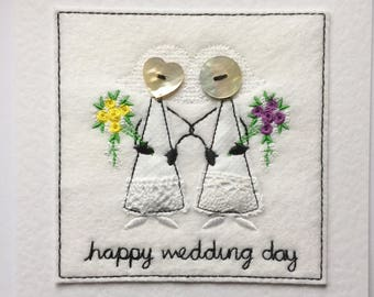 Wedding Card - Mrs & Mrs Embroidered