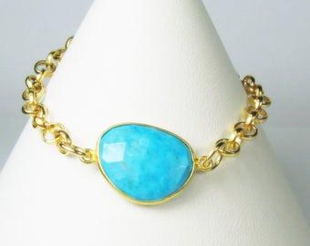 25% OFF Robin's Egg Blue Turquoise Gemstone Gold Filled Bracelet