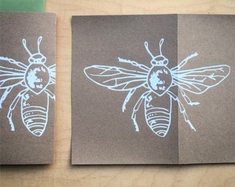 Honey Bee Hand Printed Greeting Card - Set of 3