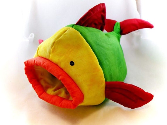 Green Fishie Fish Snuggle Sleep Sack Bed for Hedgehogs and Pocket Pets