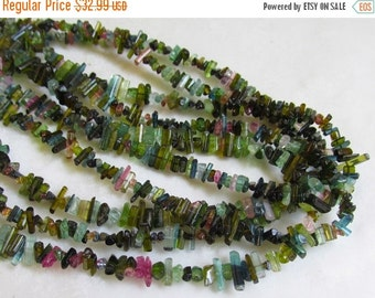 25% Off Sale Pink Green Watermelon Tourmaline Beads,  Pencil Stick Crystal Briolette,  1/2 Of 16 1/2 Inches Natural Gemstone