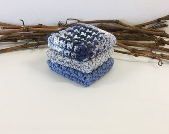 Blue Dishcloth, Mans Washcloth, Crocheted Cotton Wash Cloth, Kitchen Dish Cloth, Facial Cloths, Gift under 20, Set of 3