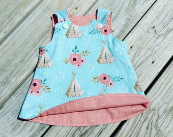 Blue Dress - TeePee Dress - Aqua Coral Dress -  Toddler Girl Dress - Girls Beach Dress  - TeePees - Birthday Dress - Groovy Gurlz