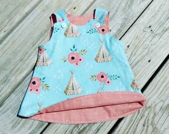 Spring Dress - TeePee Dress - Aqua Coral Dress -  Toddler Girl Dress - Girls Beach Dress  - TeePees - Birthday Dress - Groovy Gurlz