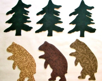 Set of 6 Lg Lodge Bear and Pine Tree Iron-on Cotton Fabric Appliques