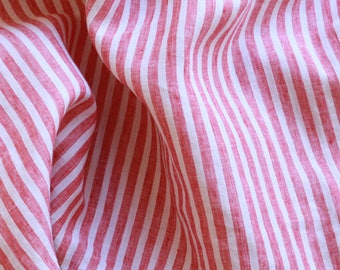 Extra wide 110 inch linen fabric 100% pure flax cloth stone washed stripe soft linen medium weight red and white stripe