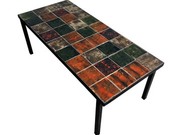 Vintage Tile Coffee Table Mid Century Modern Roger Capron