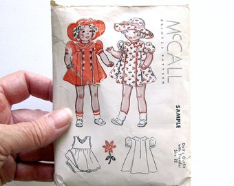 1930s Doll Dress Pattern Vintage McCall Original Dress for 22 Inch Doll with Cloche Hat and Petticoat Dated 1933 NOT a Reproduction