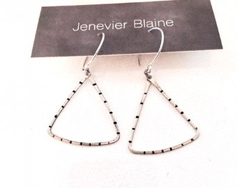 Modern Silver and Black Stripe Triangle Hoop Earrings - you choose brass or silver