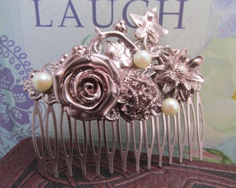 Roses in rose gold Hair Comb pearl Hair accessories Vintage Hair combs Decorative Combs ivy and floral