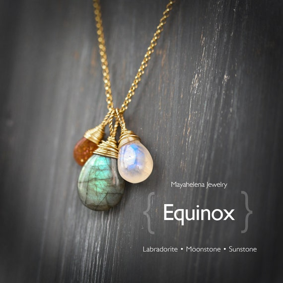 The Equinox  - Labradorite Moonstone and Sunstone Wire Wrapped Gold Filled Necklace