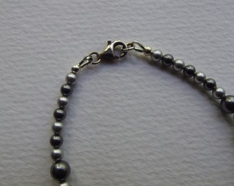 CB 60 Swarovski Pearl Bracelet.  Dark gray and Light gray.