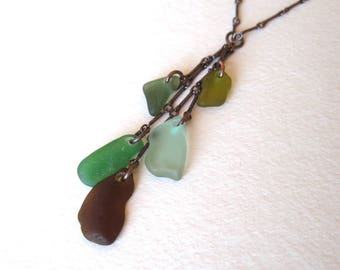 Genuine Sea Glass Cascade Necklace on Copper