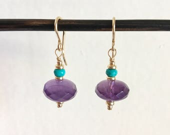 Turquoise And Amethyst Gold Earrings