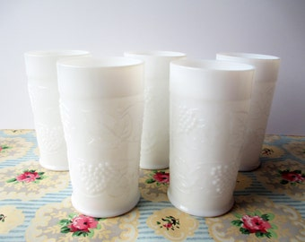 Vintage Milk Glass Tumblers Grapevine Set of Five