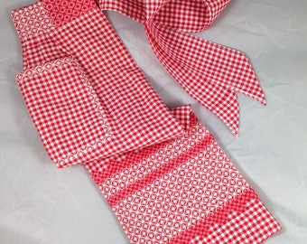 Vintage Red and White Gingham Apron with Red and White Cross Stitch Embroidery