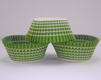 48 Lime Green Stripe Carnival Greaseproof Paper Cupcake Liners Baking Cups Baking Supplies