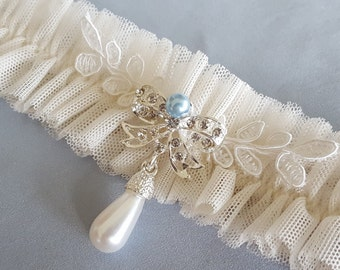 Ivory Tulle Blue Pearl Bridal Garter Set Something Blue Net Elegant Wedding Garter