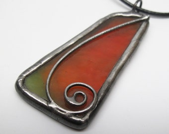 Apple Peel - Stained Glass Pendant