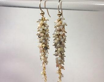 Opal Gold Cluster Earrings-Gemstone Cluster Earrings-Beige Opal Earrings-Gemstone Jewelry-Opal Cascade Earrings-Mothers Day Gift