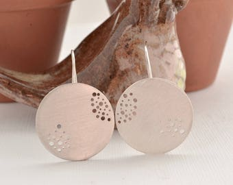 Large Round Sterling Silver Dangle Earrings with Pierced Holes