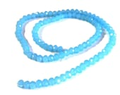 "Czech Faceted Glass Rondelle Beads, Aquamarine Opal 6mm, 17"" Strand Jewelry Supplies"