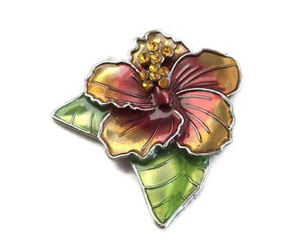 Red Yellow Green Silver Flower Magnet, Upcycled Brooch Magnet, Home Decor