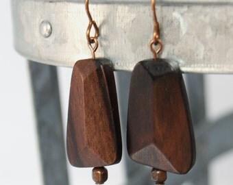 brown ebony wood fair-trade natural brass earrings by CURRICULUM
