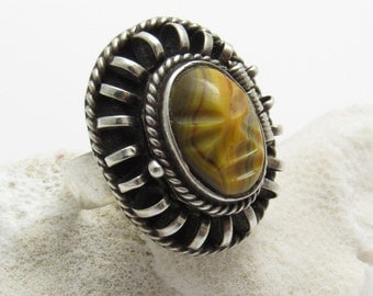 Vintage Mask Poison Ring Sterling Mexican Jewelry R7629