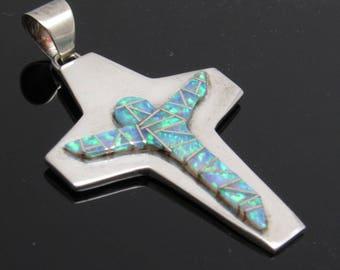 Sterling Opal Cross Pendant Vintage Modernist Jewelry C7206