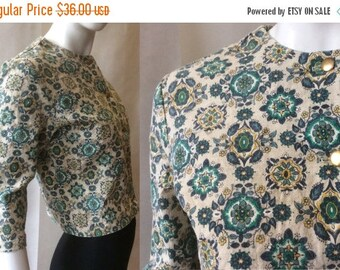 MOVING 4 GRADSCHOOL SALE 1960's cropped light jacket by Fritzi of California, in blue, teal, maize, and oatmeal, gold buttons & elbow sleeve