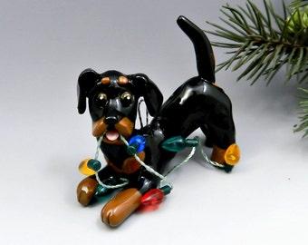 Dachshund Black Tan Christmas Ornament Figurine Lights Porcelain