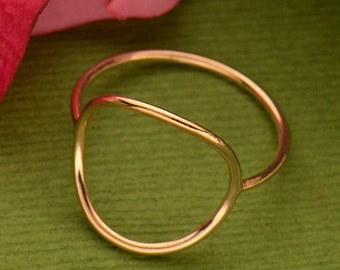18K Rose Gold Plated Sterling Silver Open Circle Ring - Insurance Included