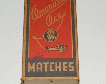 Vintage WW2 American Ace Matches Matchbox Bomber Pilot and Airplane Image West Virginia Match Corp