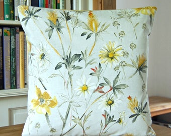 meadow floral flower cushion cover, decorative pillow cover 18 inch / 45 cm