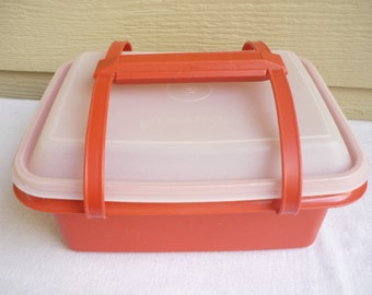 Tupperware orange Carry All, box, container, box, domed lid, handles, Tupperware craft container
