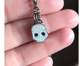 RESERVED Cultured Opal Skull Necklace