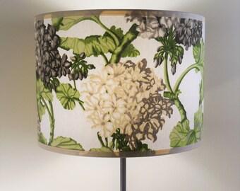 Floral fabric drum shade, hydrangeas