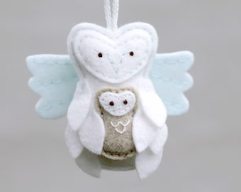 Miscarriage Ornament Angel Owl with Baby. Felt Christmas Ornament for Loss. Remembrance Gift Keepsake.
