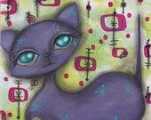 kitsch Cat - Purple Pink Atomic - Mid Century Modern MCM - Abril Andrade kitty 1950's Retro painting