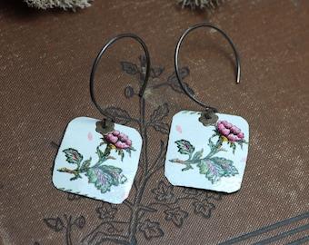 Cut Tin Earrings White Pink Flowers Upcycled Metal Earrings Recycled Repurposed