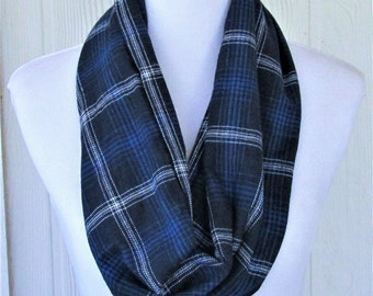 Blue Plaid Infinity Scarf Flannel Scarf, Winter Scarf, Necklace Scarf, Women's Scarves, Eclectasie