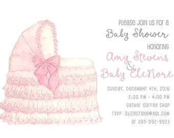 Pink Baby shower invitation printed invitation baby shower original watercolor art baby bassinet baby girl invitation